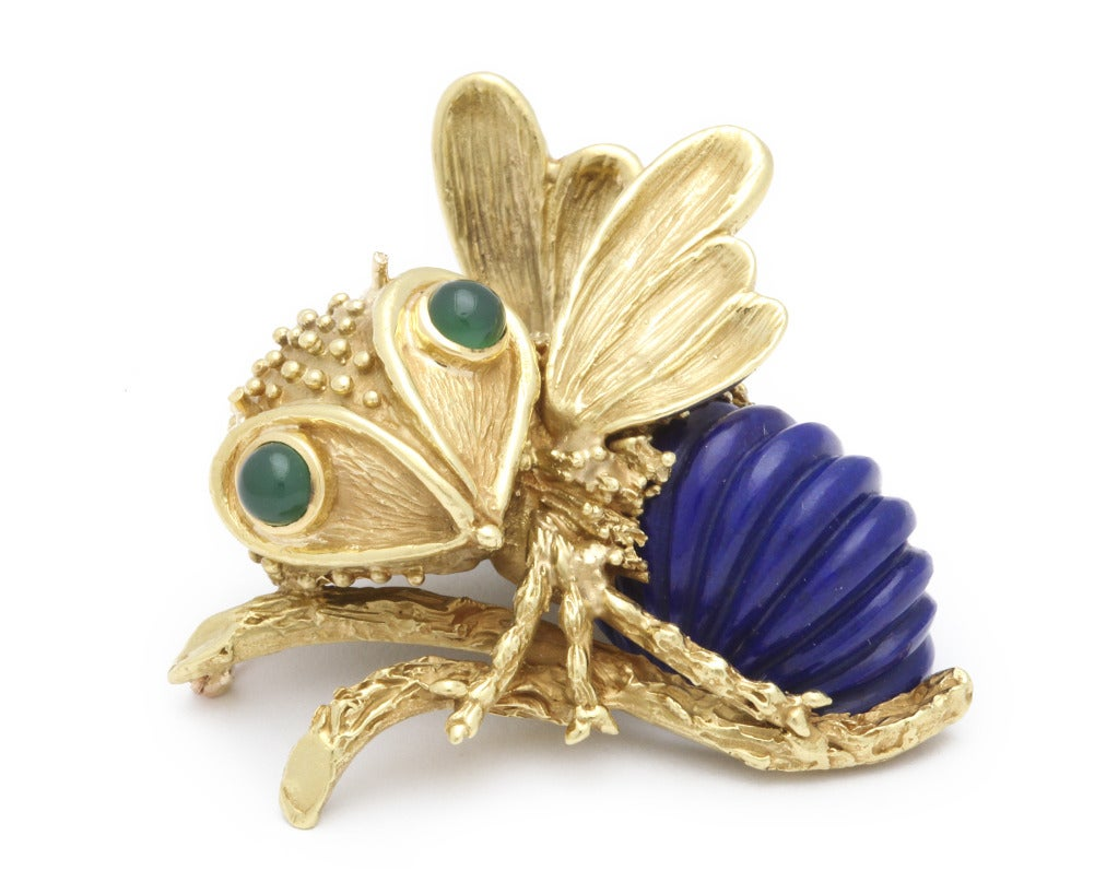 Erwin Pearl Lapis Lazuli And Chrysoprase Bee Pin At 1stdibs