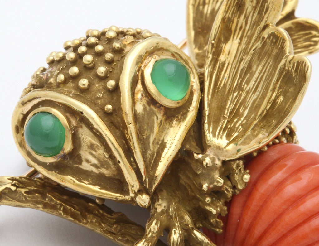 Erwin Pearl Coral And Chrysoprase Bee Pin At 1stdibs