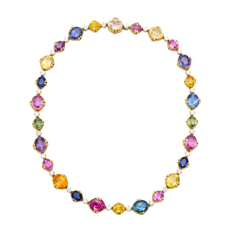 Tanagro Multicolored Sapphire and Diamond Necklace For Sale