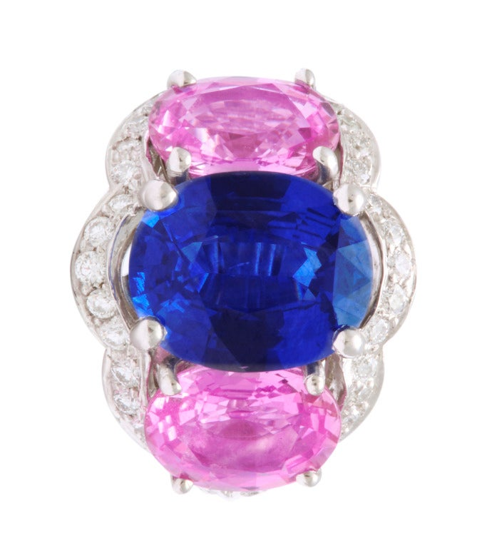These beautiful 3-stone earclips feature 2 bright blue oval sapphires weighing a total of 6.35cts and 4 vibrant oval pink sapphires weighing a total of 6.10cts.  The mounting is all in platinum with 0.90cts of diamonds.  Featuring custom made clips