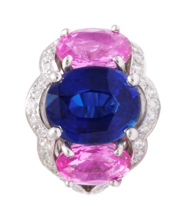 Tanagro Blue and Pink Sapphire and Diamond Earclips In As new Condition For Sale In Bal Harbour, FL