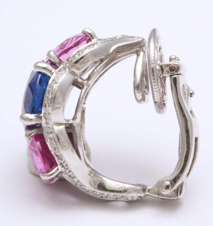 Women's Tanagro Blue and Pink Sapphire and Diamond Earclips For Sale