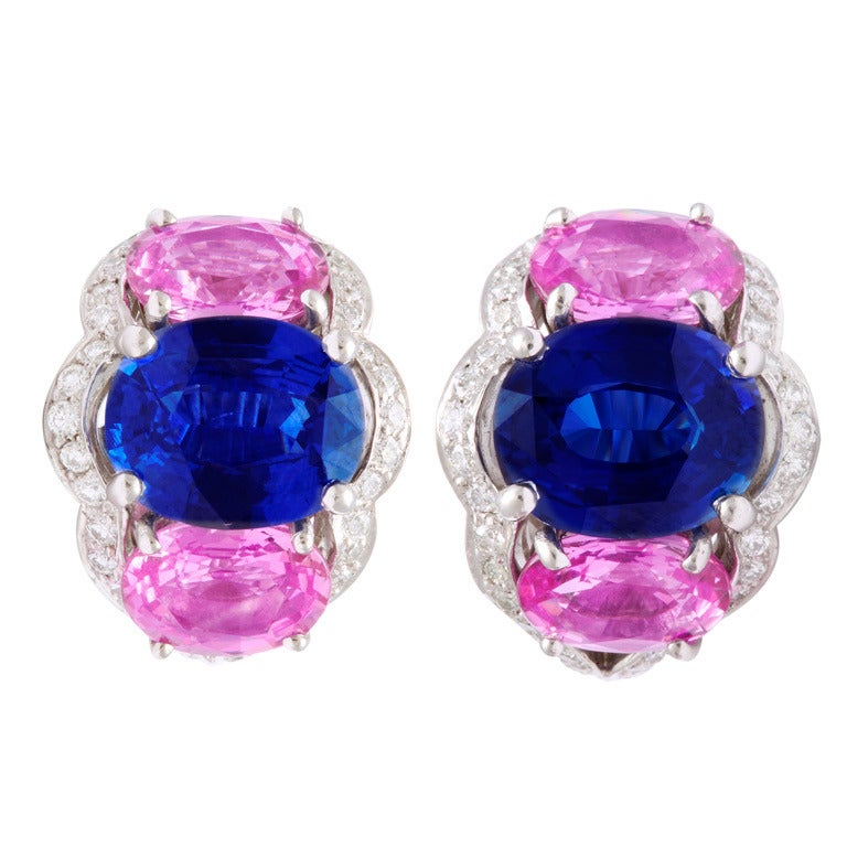 Tanagro Blue and Pink Sapphire and Diamond Earclips For Sale