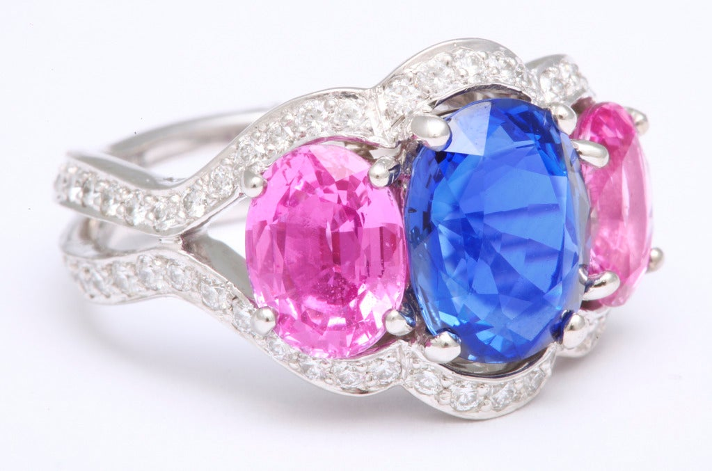 Women's Tanagro Blue and Pink Sapphire Ring For Sale