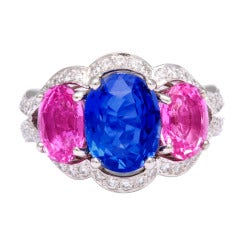Tanagro Blue and Pink Sapphire Ring