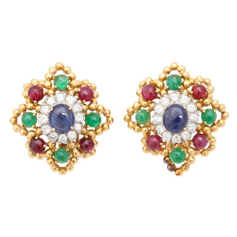 David Webb Ruby Emerald Sapphire Diamond Earclips