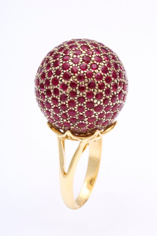 Contemporary Huge Ruby Ball Ring For Sale
