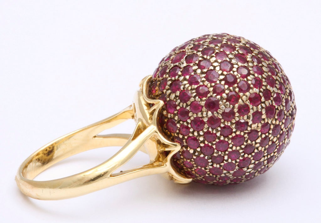 Huge Ruby Ball Ring In New Condition For Sale In Bal Harbour, FL