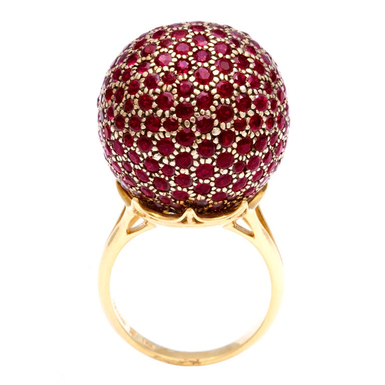 Huge Ruby Ball Ring For Sale