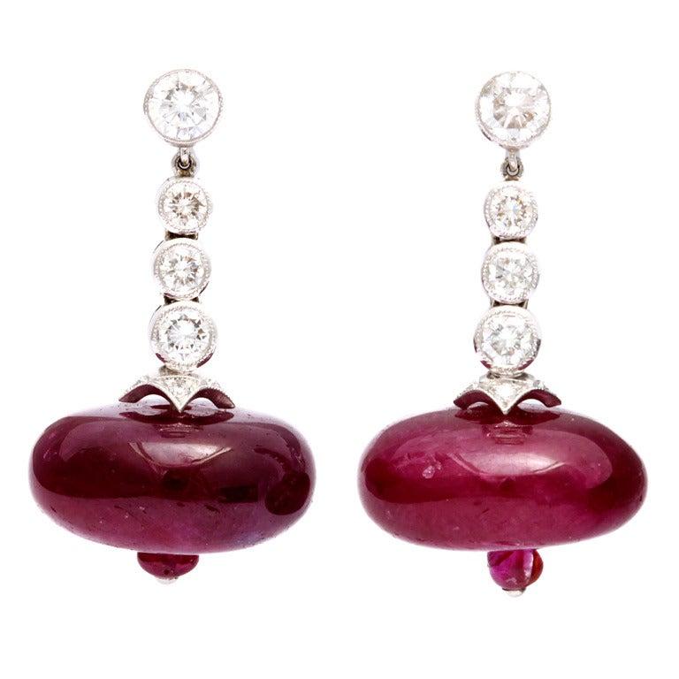 Ruby Bead Diamond Earrings For Sale