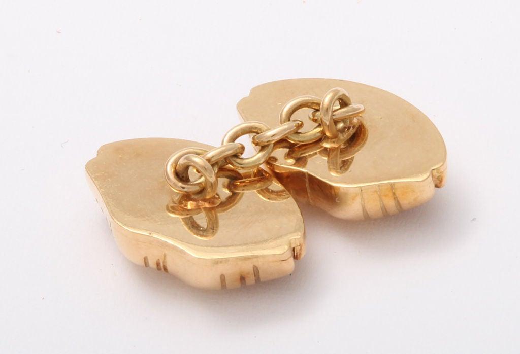 Contemporary Michael Kanners Gold Lip Cufflinks
