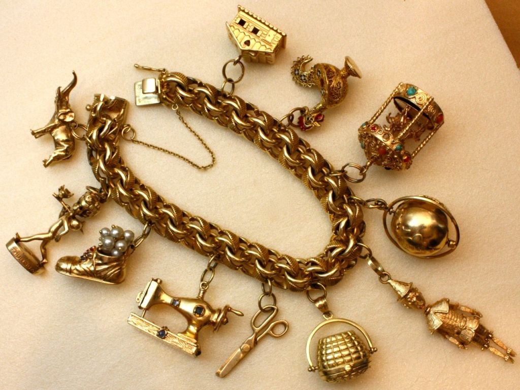 Women's Wonderfully Rare Vintage Charm Bracelet For Sale
