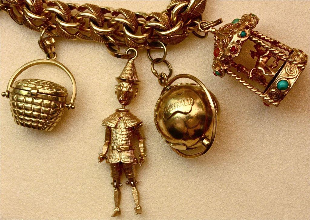 Wonderfully Rare Vintage Charm Bracelet For Sale 1