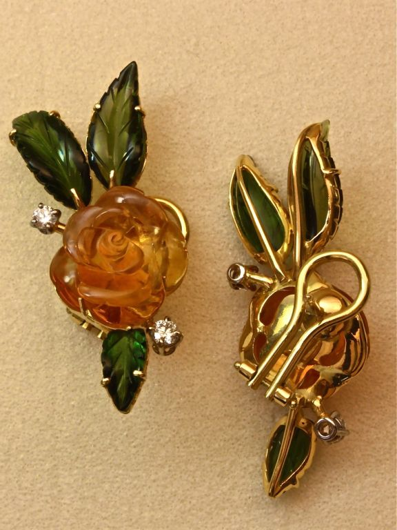 Beautiful Carved Stone Flower Earclips, Michael Kanners For Sale 1