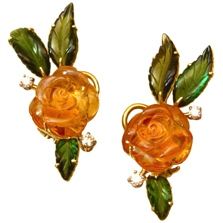 Beautiful Carved Stone Flower Earclips, Michael Kanners For Sale