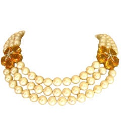 Elegant Triple Strand Pearl, Citrine and Diamond Flower Necklace
