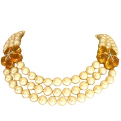 Elegant Triple Strand Pearl, Citrine and Diamond Flower Necklace