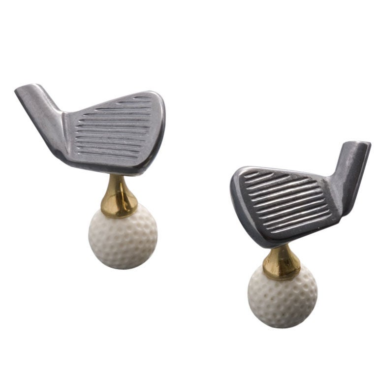 Michael kanners fine carved stone golf cufflinks at 1stdibs for Golf buflings