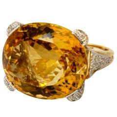 Vibrant Citrine and Diamond Ring