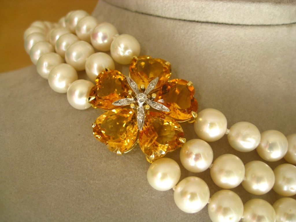 Contemporary Elegant Triple Strand Pearl, Citrine and Diamond Flower Necklace For Sale