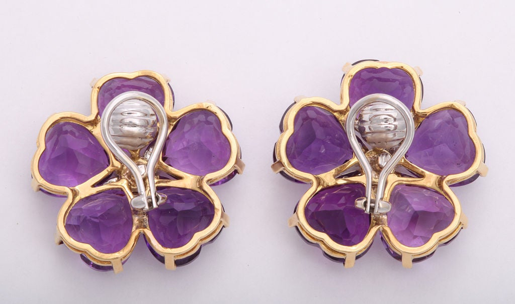 Contemporary Michael Kanners Vibrant Amethyst Diamond Flower Earclips For Sale