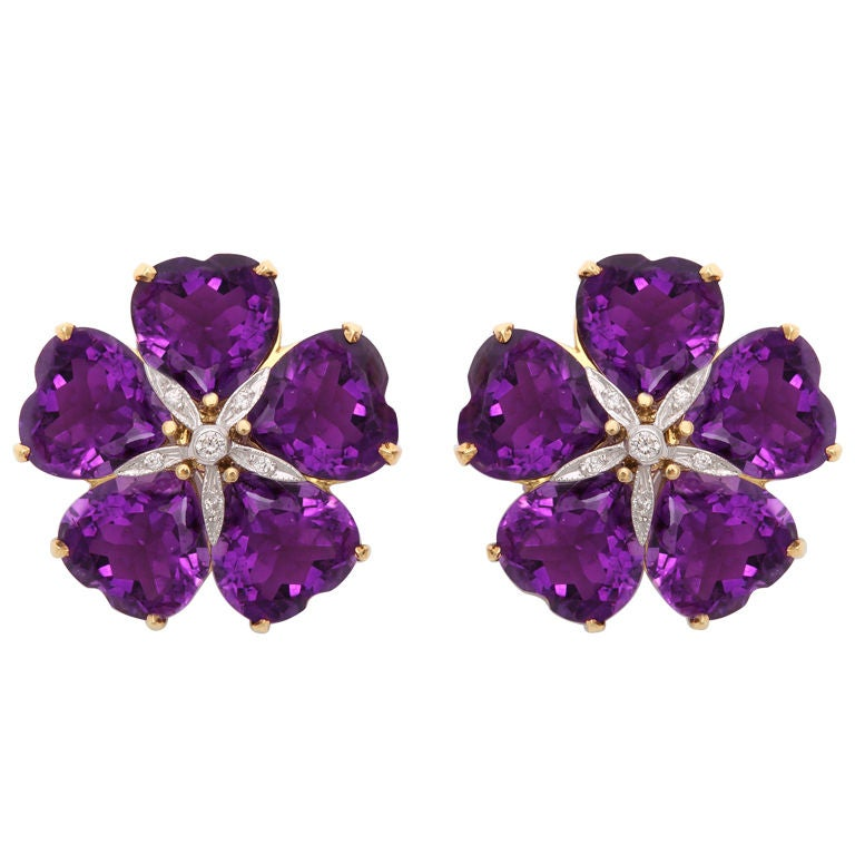 Michael Kanners Vibrant Amethyst Diamond Flower Earclips 1