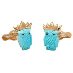 MICHAEL KANNERS Turquoise Crowned Owl Cufflinks