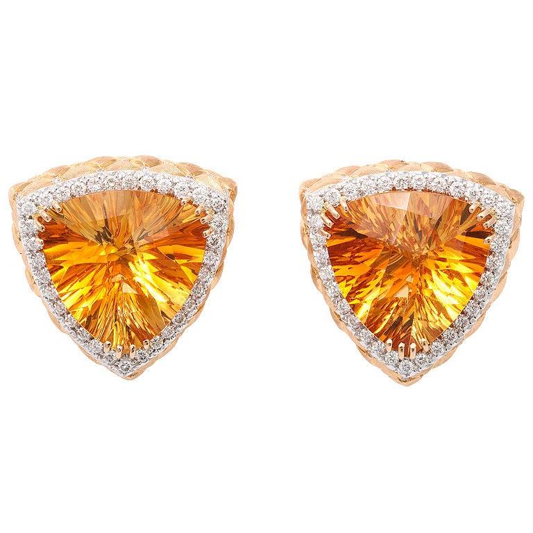 Vibrant Citrine and Diamond Earclips