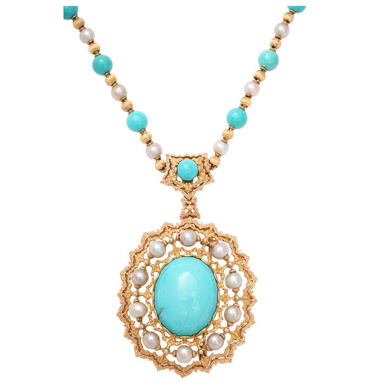 BUCCELLATI Turquoise and Pearl Pendant Necklace Brooch at