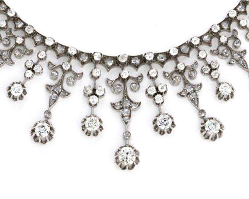 Impressive Victorian Diamond Gold Silver Platinum Necklace 2