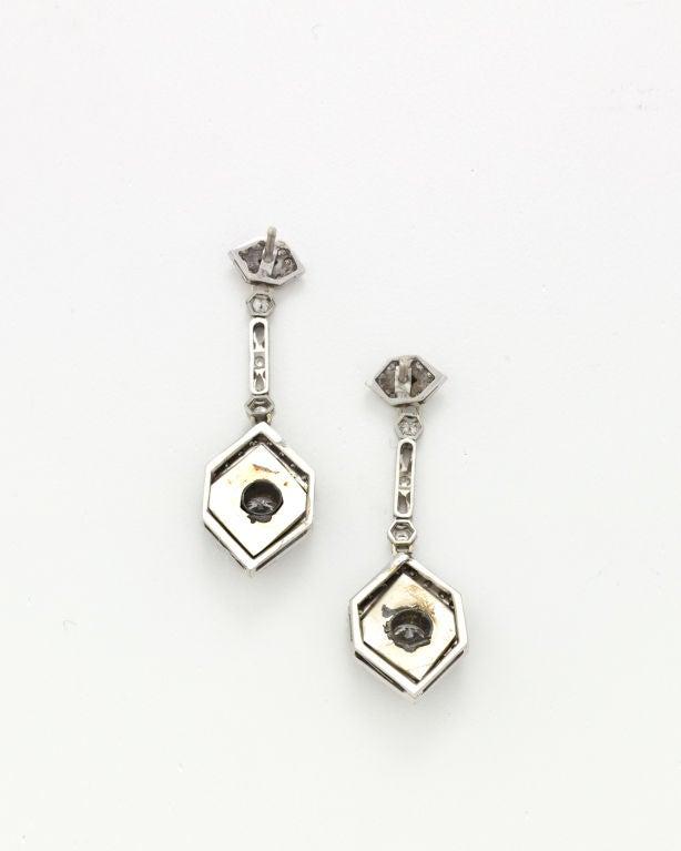 Art Deco Onyx Diamond Platinum Earrings 2