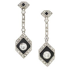 Art Deco Onyx Diamond Platinum Earrings