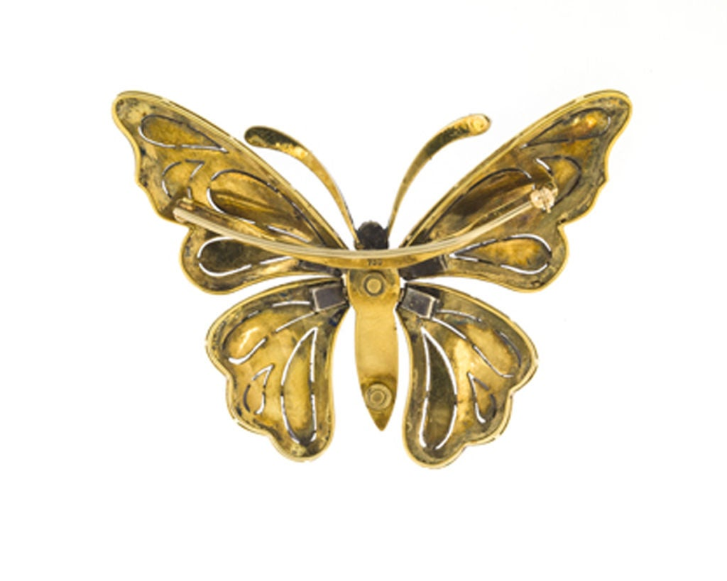 Contemporary 5.20 Carats Diamond, Ruby, 18 Karat Gold, Silver Butterfly Brooch For Sale