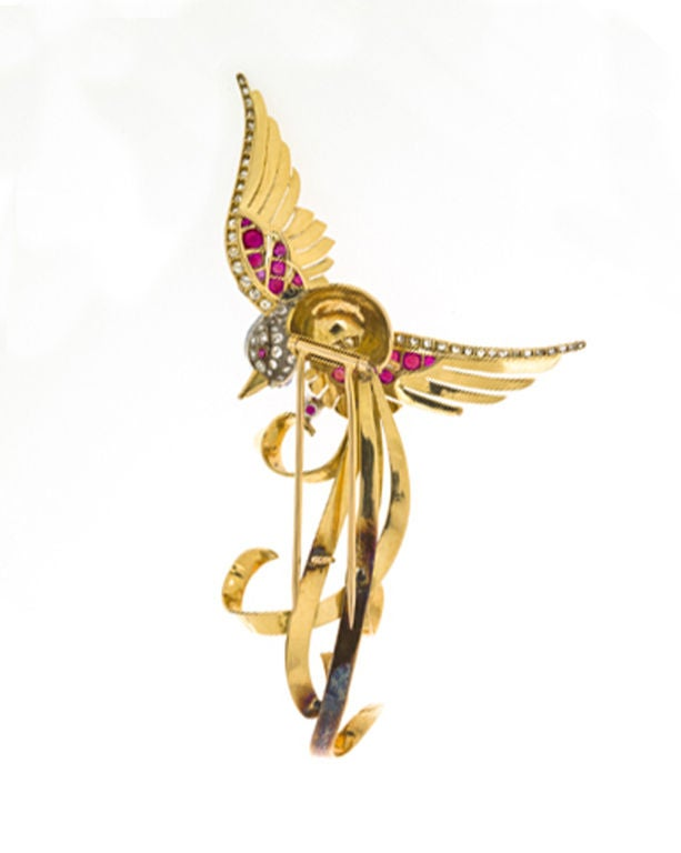 French Ruby Diamond Gold Bird Brooch 2