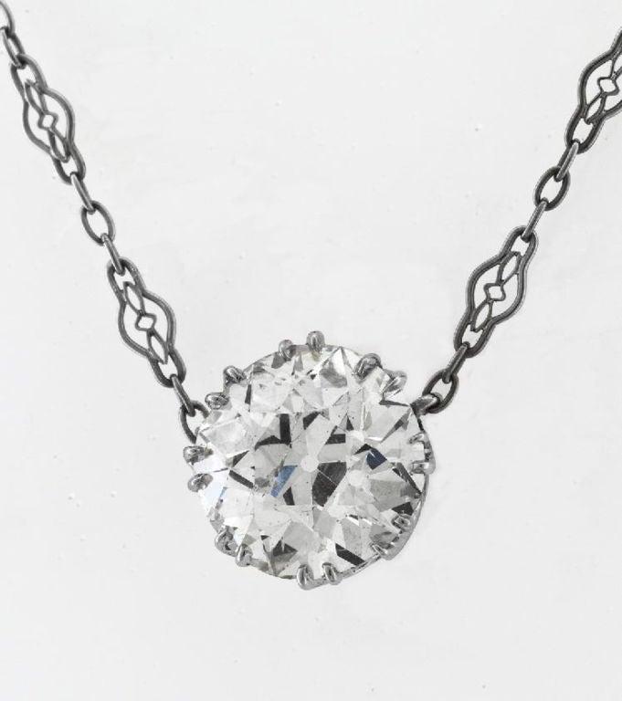 GIA Certified 4.19 Carat Diamond Single Stone Necklace & Diamond Platinum Chain 2