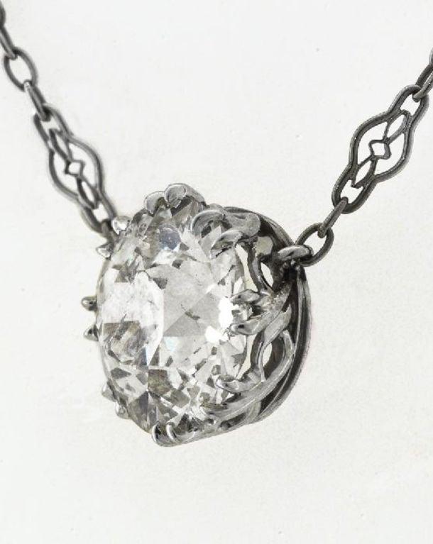 GIA Certified 4.19 Carat Diamond Single Stone Necklace & Diamond Platinum Chain 3