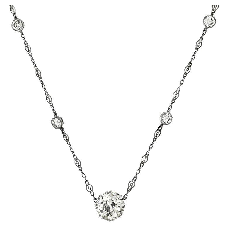diamond single stone necklace with diamond chain at 1stdibs. Black Bedroom Furniture Sets. Home Design Ideas