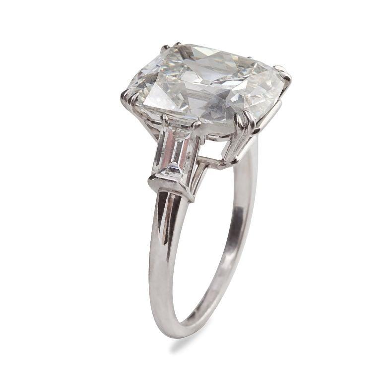 Brilliant Cushion Cut 6.53 Carat GIA Certified Diamond Platinum Engagement Ring 2