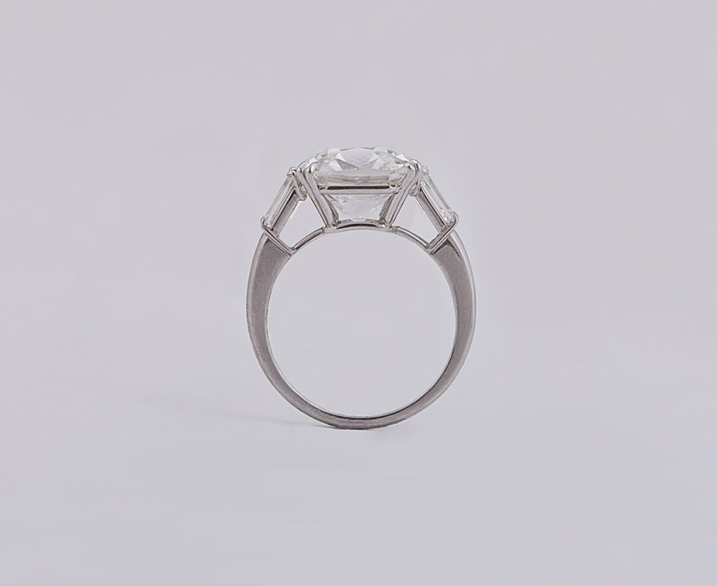Brilliant Cushion Cut 6.53 Carat GIA Certified Diamond Platinum Engagement Ring 3