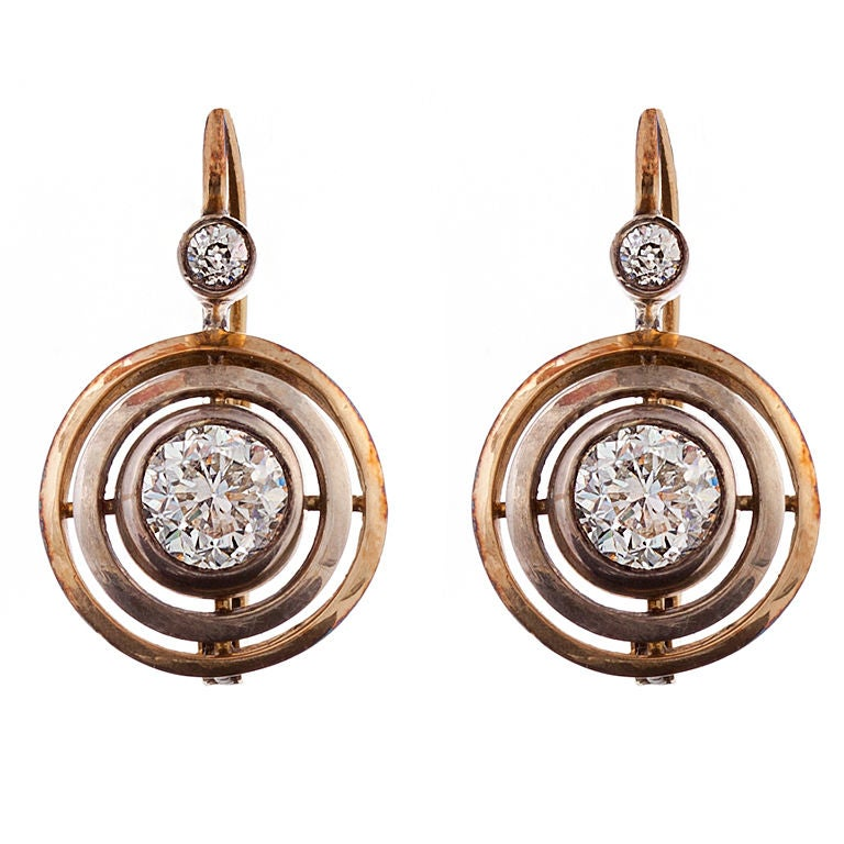 Victorian 1.89 Carats Diamond Gold And Silver Drop Earrings