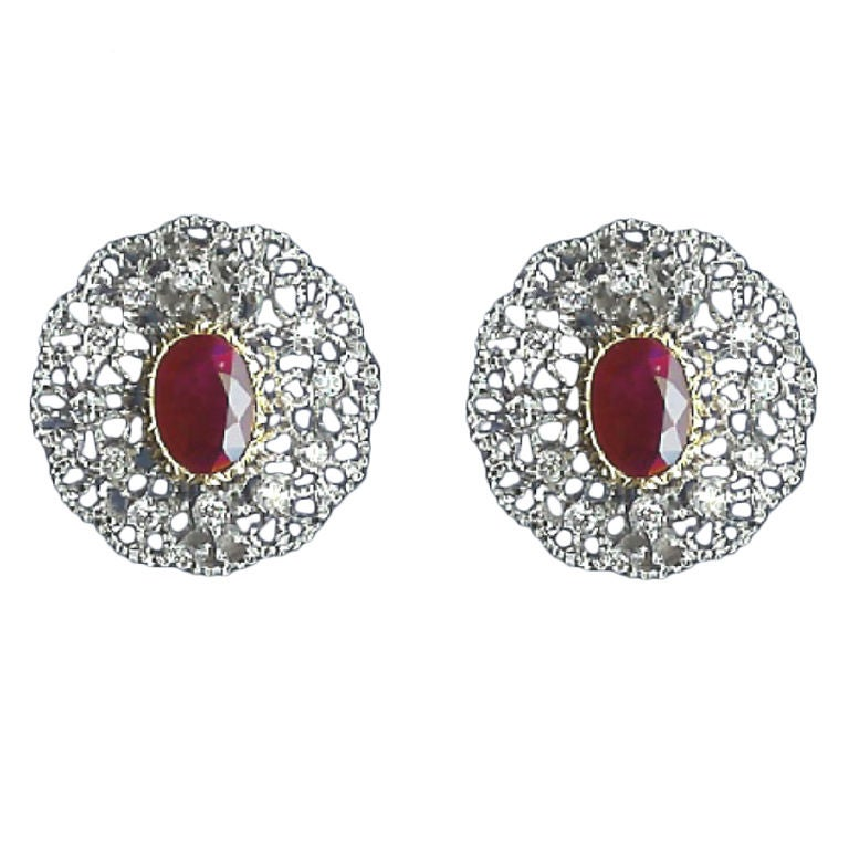 Buccellati Gold, Diamond and 4.63 Carat Ruby Earrings For Sale at ...