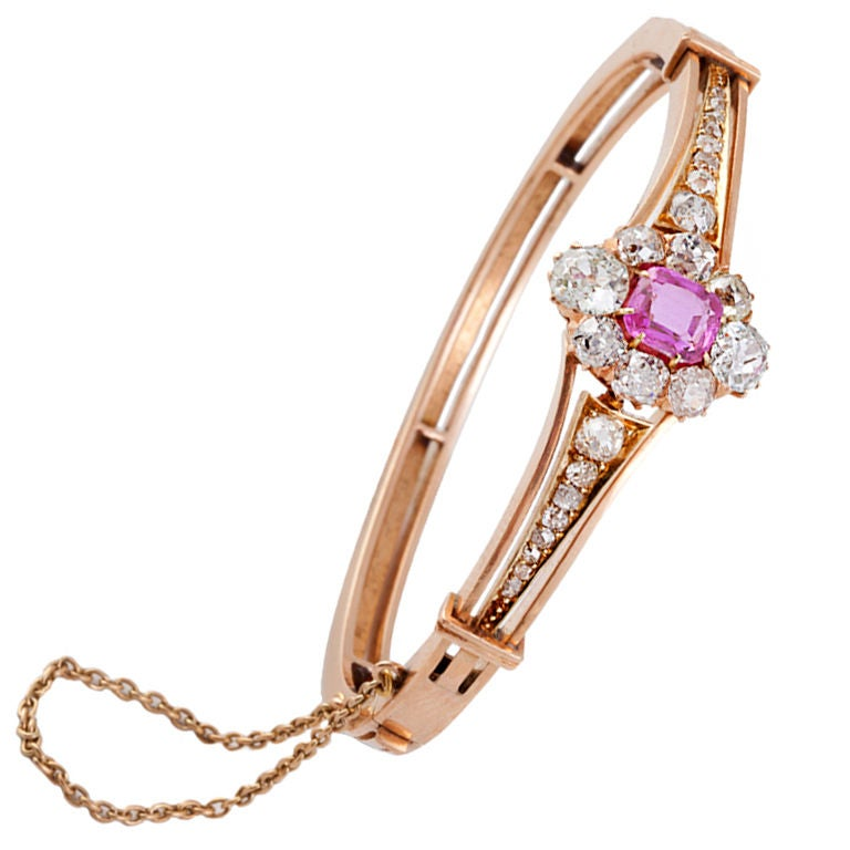 Austrian Victorian Pink Sapphire Diamond Gold Bangle ...