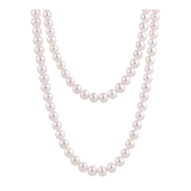 Pearl Necklace With Gold & Diamond Clasp 1