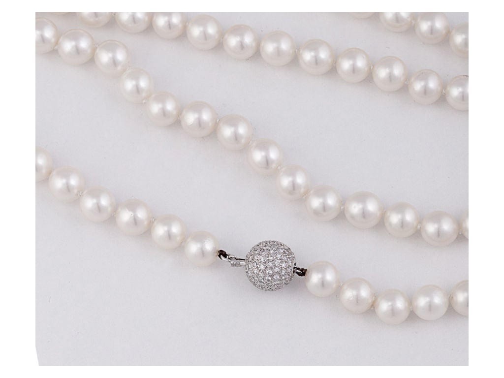 Pearl Necklace With Diamond Ball Clasp 2
