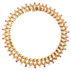 Retro Ruby Diamond Gold Necklace