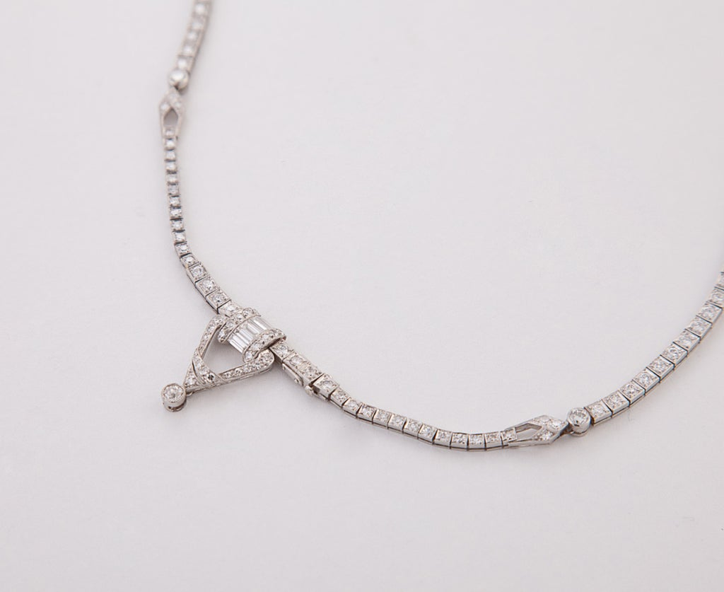 Art Deco Diamond Platinum Necklace 3