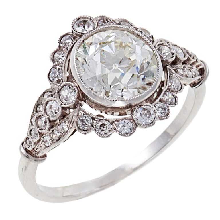 Edwardian Diamond Platinum Engagement Ring For Sale