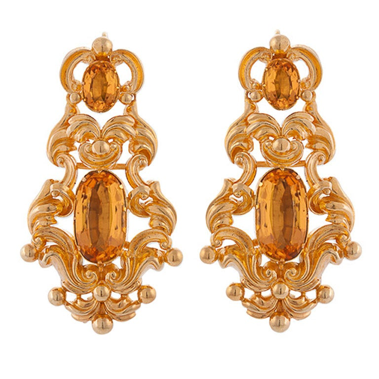 Georgian 9.50 Carats Precious Topaz, 18 Karat Bloomed Gold Baroque Earrings For Sale