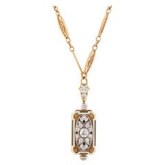 Cresarrow Lady's Yellow Gold, Diamond and Enamel Pendant Watch