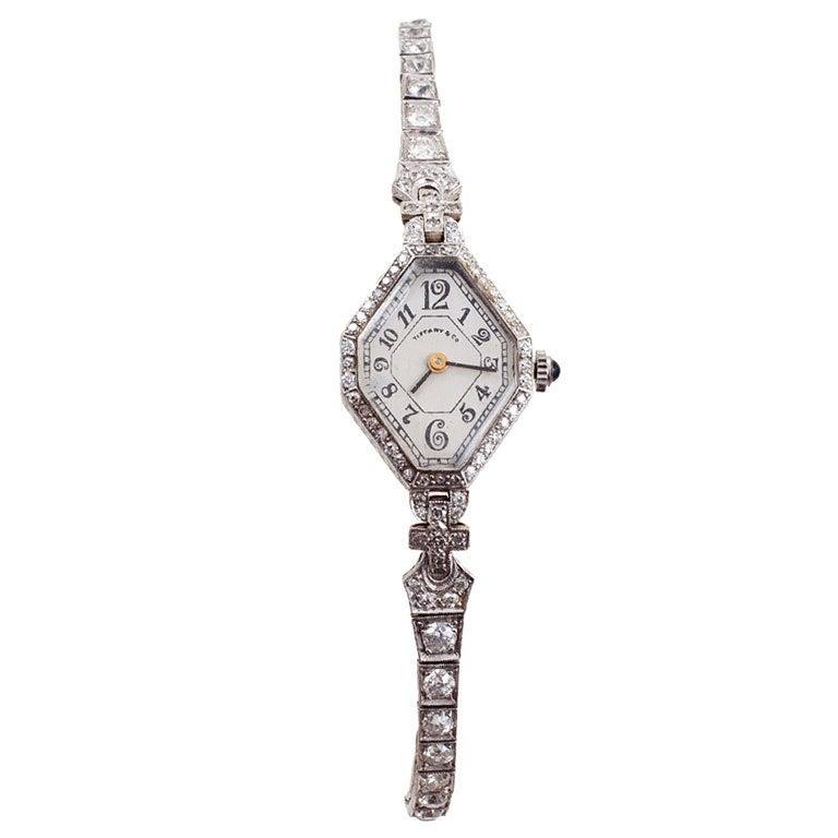 Tiffany & Co. Lady's Platinum and Diamond Art Deco Wristwatch 1